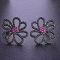Blucome upscale flor cz brincos zircão do parafuso prisioneiro para mulheres meninas rosa strass gunblack aretes casamento cristais acessórios de ouvido
