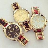Chapado en oro de ginebra del reloj hermosa flor floral dial grande relojes al por mayor reloj comprar directo de china
