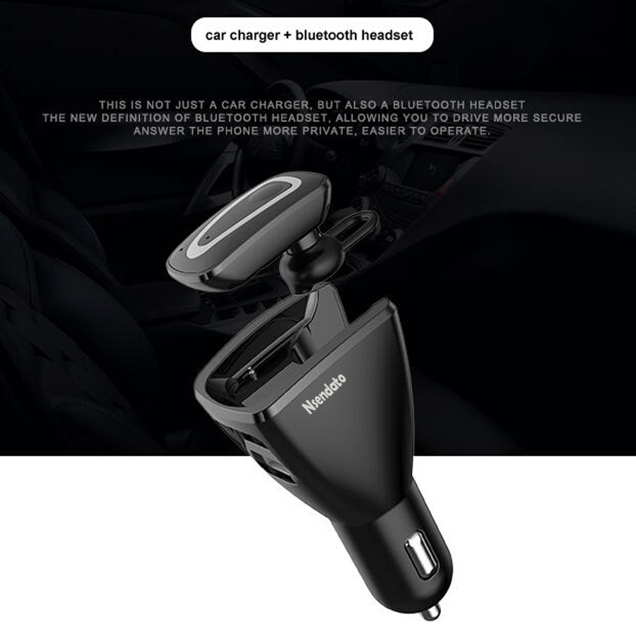 2 In 1 Wireless Bluetooth Earphone & Car Kit Charger Bluetooth Headset Answer Call With Dual USB For Car Phone Charger