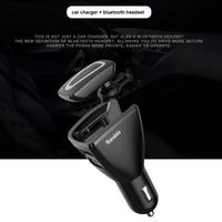Auricolare Bluetooth Wireless 2 In 1 e Kit per auto caricabatterie auricolare Bluetooth risposta chiamata con doppio USB per caricatore per telefono per auto