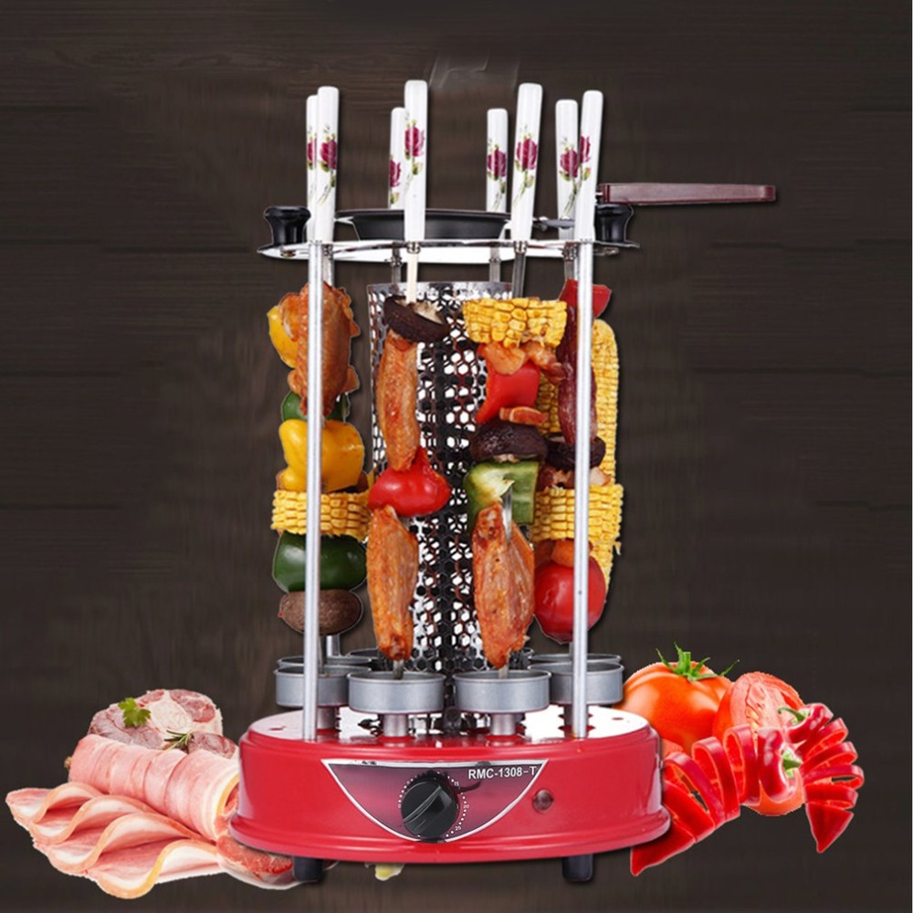 1500W 8 Forks Electric Oven Automatic Rotating Barbecue Grill Vertical Chicken Rotary Grill Lamb Skewers Kebab Machine EU Plug three groups of kebab ovens commercial electric oven machine