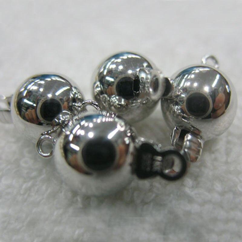 Fermoir à bijoux en forme de boule lisse en or massif blanc 10mm 14 K