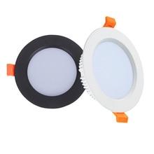 לבן שחור LED Downlight 3W 5W 7W 9W 12W 15W 18W אלומיניום שקוע LED ספוט תאורת חדר שינה מטבח מקורה led למטה אור מנורה