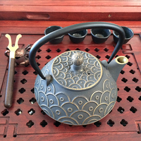 Free shipping 900ml fish scale cast iron teapot uncoated tea pot
