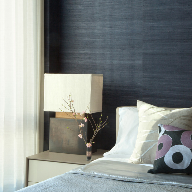 Decorating With Grasscloth Wallpaper: Real Grass Deep Navy Blue Grasscloth Wall Paper Textured