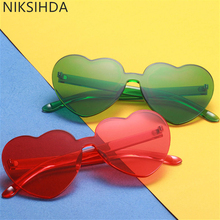 NIKSIHDA New fashion candy sunglasses of love European and American personality trend frameless conjoined Lens Sunglasses UV400