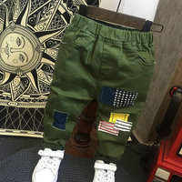 Baby Boys Pants Casual Sport Army Green Pants Children Fashion Pathwork Long Trousers Baby Boys Cargo