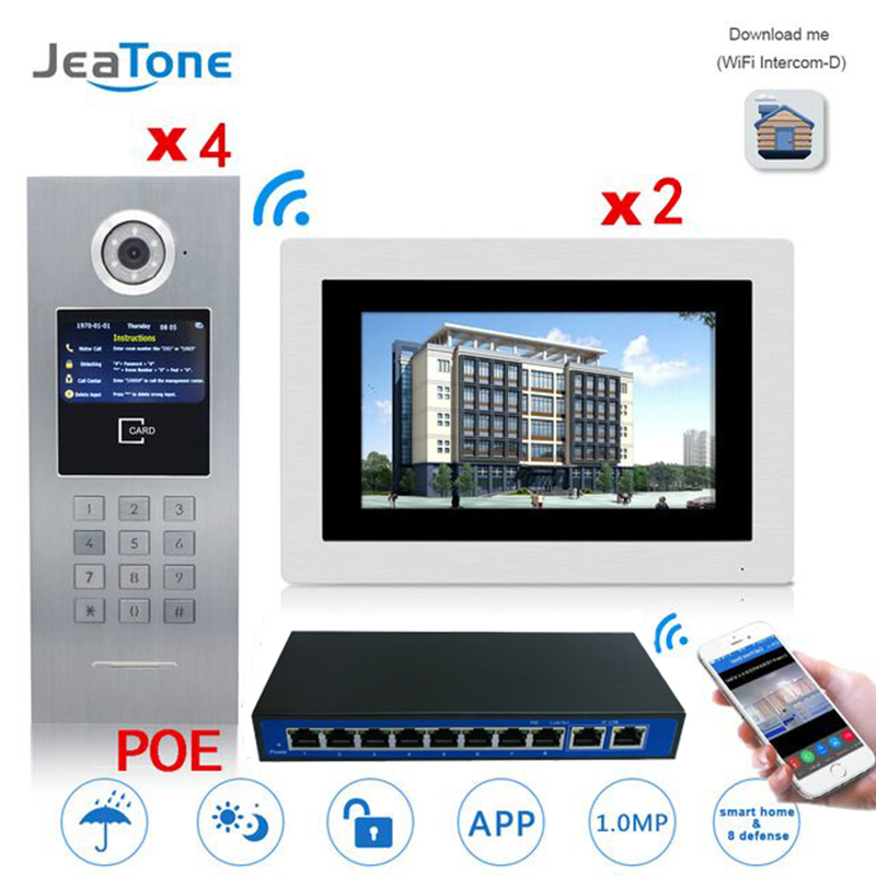 7'' Touch Screen WIFI IP Video Door Phone Intercom +POE Switch 2 Floors Building Access Control System Support Password/IC Card
