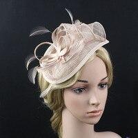 European Lady Flower Feather Linen Fascinator Sinamay Hats Elegant Women Headwear Accessories For Wedding Cocktail Party
