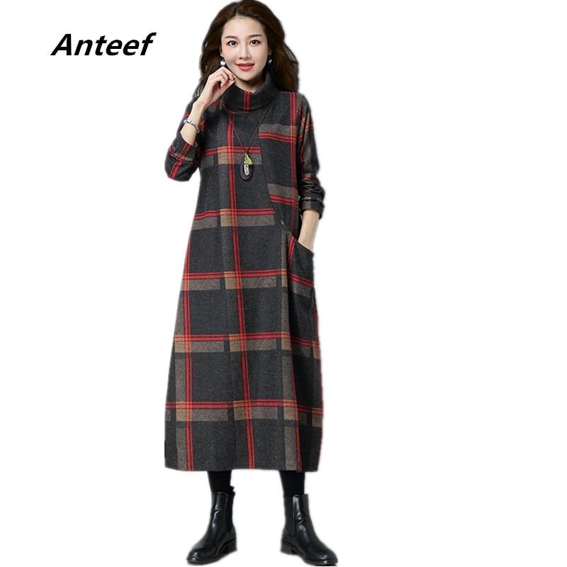 new fashion woolen vintage plaid plus size women casual loose long autumn winter dress vestidos femininos 2017 dresses