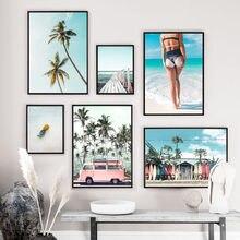 Ônibus praia menina palmeira árvore, paisagem, arte de parede, pintura em tela nórdica, posteres e impressões, imagens de parede para sala de estar decoração