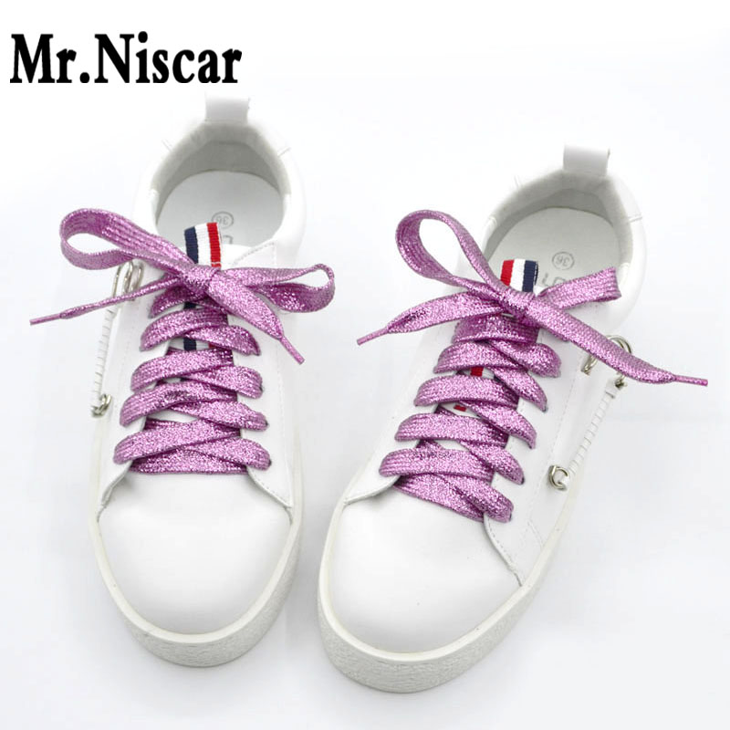 Cheap 1 Pair Colorful Gold Silver Shoelaces Flat for LED Sneakers All Sports Shoes Shoe Laces Strings Rope 110cm Cool Shoelace светоотражатель godox rft 01 gold silver 110cm