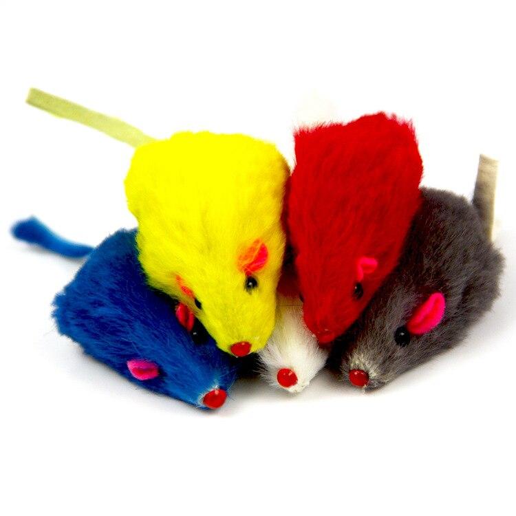 Rabbit hair Funny False Mouse Rat Toys Plush Mini Mouse for cat Toys pet Supplies Real Rabbit Fur Gravel Sounds Cute Toy