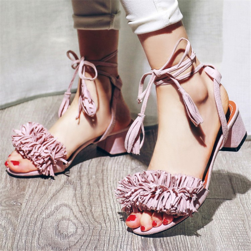 ФОТО Berdecia Summer Comfortable  Cross-Strap Leather Peep-Toe Tassel Sandals Europe Amercia High Quality Solid Ankle Shoes For Women