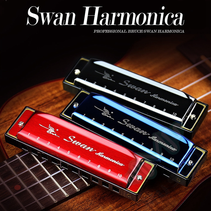 SWAN Harmonica 10 trou clé de C Diatonic Blues harpe rouge/noir/bleu