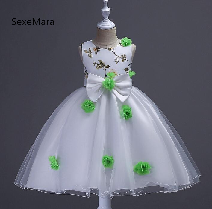 New Sweet Flower Girl Dresses for Wedding Short Front Long Back Satin with Tulle Appliques Straps Party Bll Gown 2017 new inflatable flower long wedding decoration flower