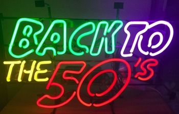 Custom BACK TO THE 50`s Glass Neon Light Sign Beer Bar