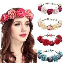 Handmade Floral Headband Flower Crown Hairhead Accessories For Women Girls Bridemaids Wreath Party Hair Ornaments
