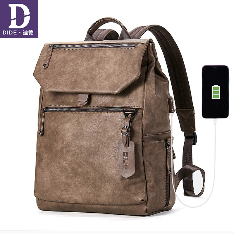 DIDE USB External Charge Backpack USB Waterproof Anti Theft Backpacks for Men School Bag Leather 14