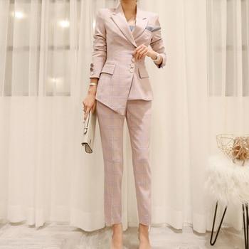 03f4d8651ba BGTEEVER работы плед нерегулярные для женщин костюмы однобортный Тонкий  брюки Блейзер Куртка и карандаш офисные женские туфли комплект шт. из 2