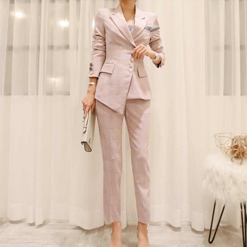 BGTEEVER Work Plaid Irregular Women Suits Single Breasted Slim Pant Suits Blazer Jacket And Pencil Pant Office Lady 2 Pieces Set