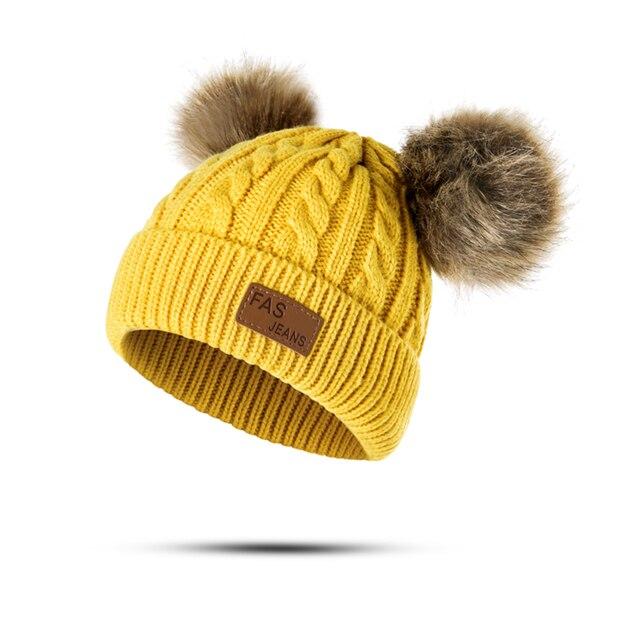 Winter Hat For Girls Baby Boys Pom Poms Hat Children Knitted Hats 1