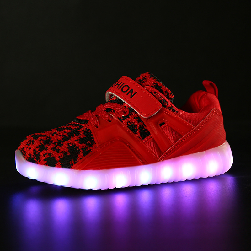 все цены на Non-slip Led luminous Double hook&loop Shoes For Boys girls Fashion Light Up Casual kids Breathable Children Sneakers Freeship онлайн