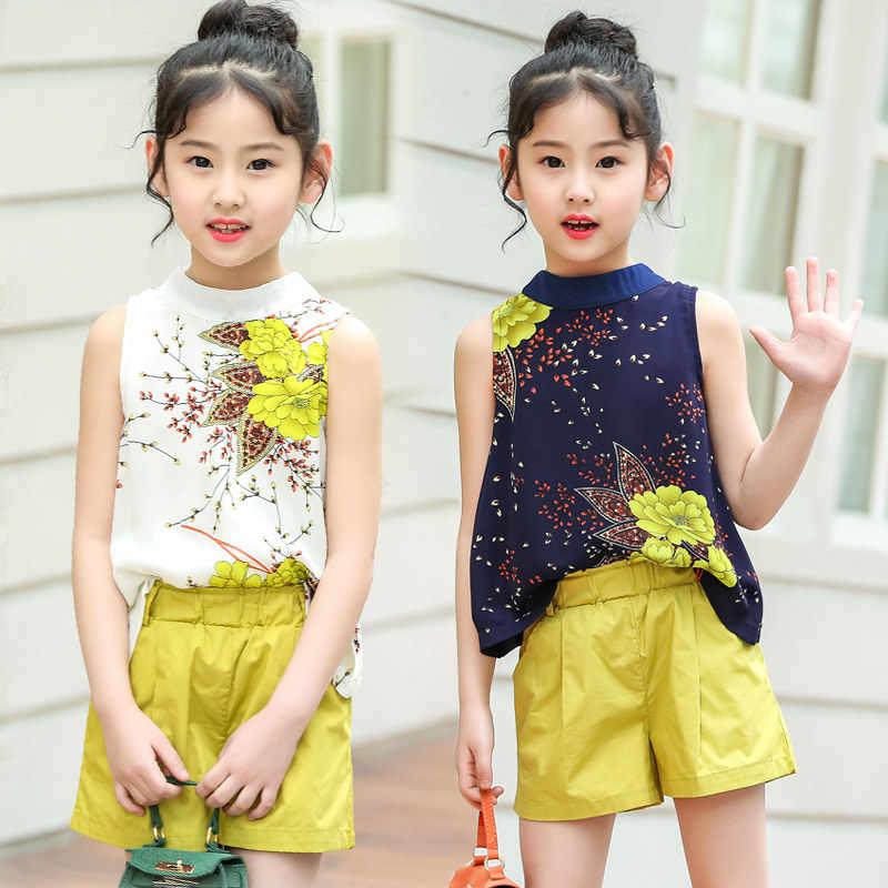 19fc506b1468 ... 2019 Big Girl Summer Clothing Set Floral Vest + Shorts Kids Clothes Set  Girls Shirt Pants ...