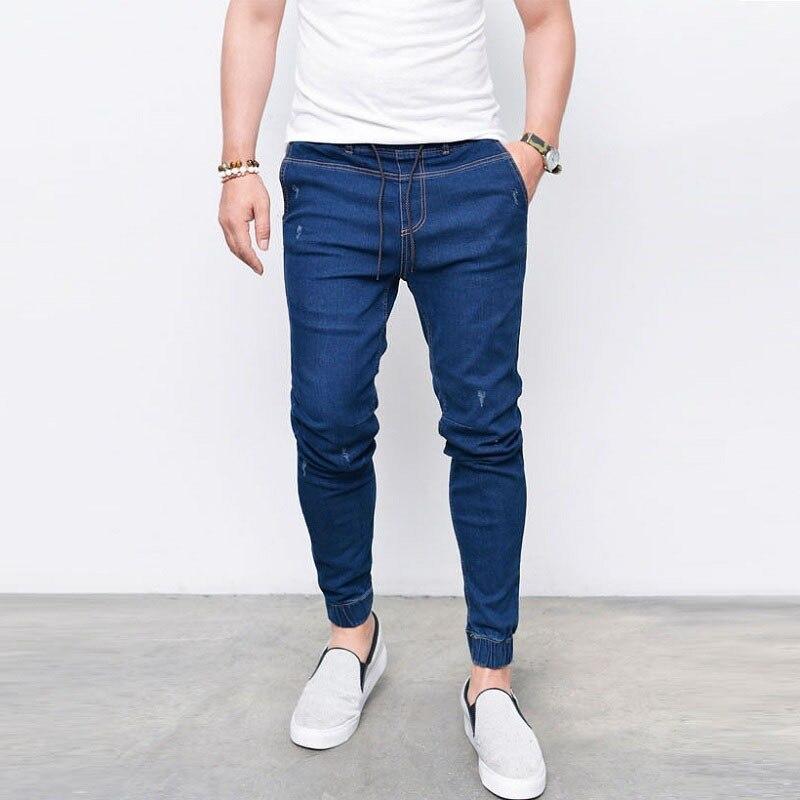 New Fashion Men's Harem   Jeans   Washed Feet Shinny Denim Pants Hip Hop Sportswear Elastic Waist Joggers Pants