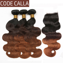 цена на Code Calla Brown Body Wave Bundles With 4*4 Lace Closure Unprocessed Indian Raw Virgin Human Hair Weft Ombre Color Extension