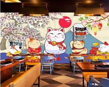beibehang  Custom personality 3d wallpaper sushi cherry blossom cute cat restaurant cuisine background mural
