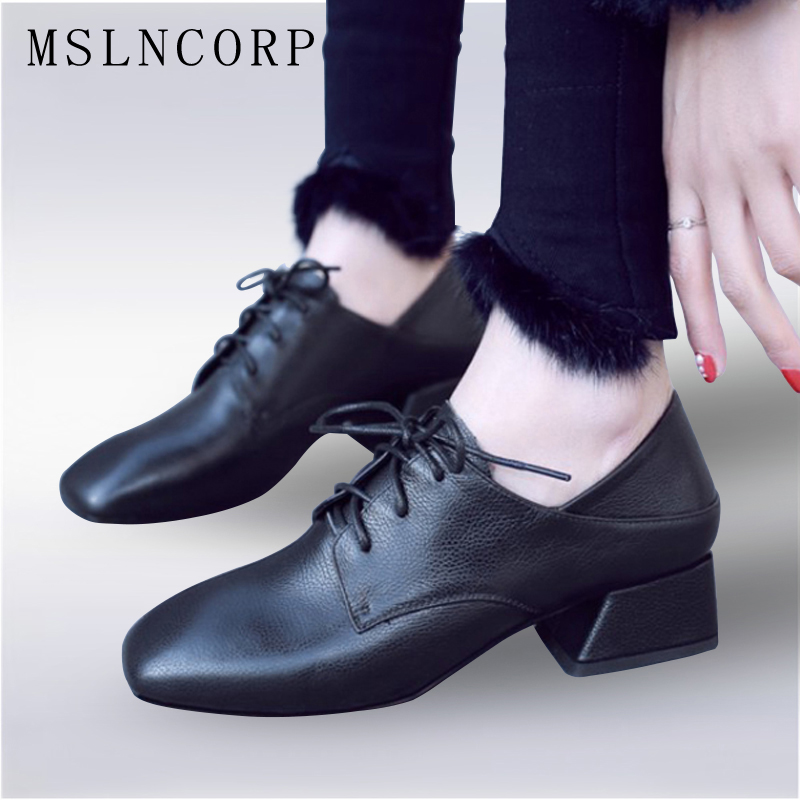 size 34-43 Spring Autumn New Luxury Brand Women Genuine Leather Shoes Square Heels Femme Zapatos Mujer Lace Up Casual Shoes alfani new black women s size small s mesh back high low ribbed blouse $59 259