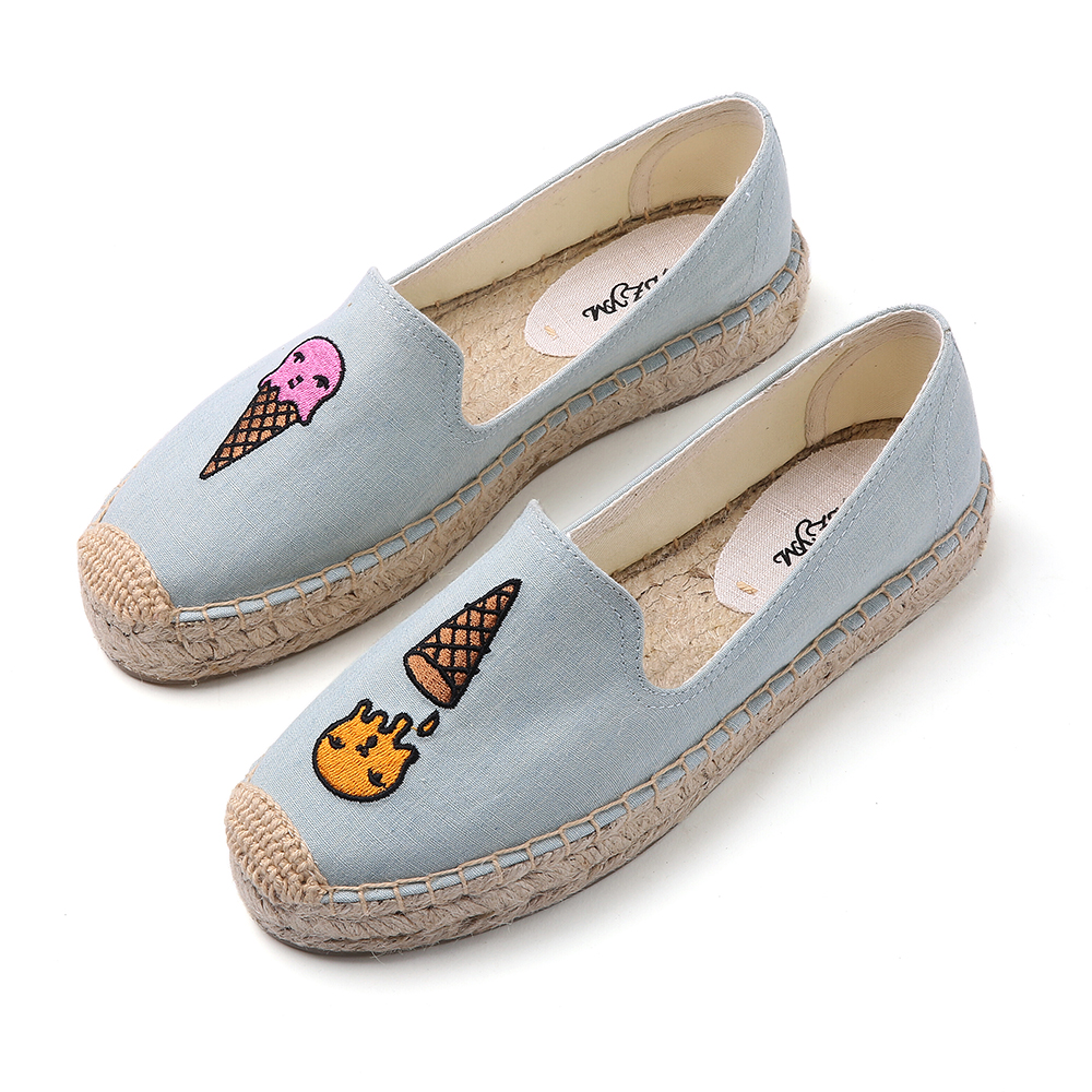 light blue color, women spring platform slippers, emboridery ice cream pattern