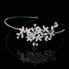 Handmade Crystal Rhinestone Bride Bridal Leaves Flower Wedding Headband Hair Accessories Tiara Crown Hair Jewelry Head