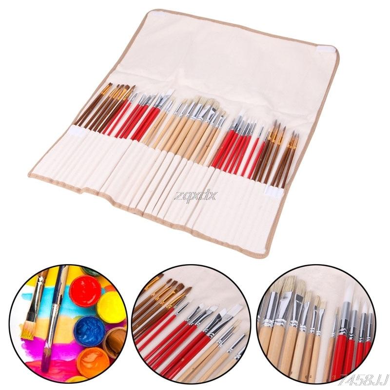 38Pcs Artists Paint Brushes Art Set For Acrylic Oil Watercolor 3 Style Portable G12 Drop ship