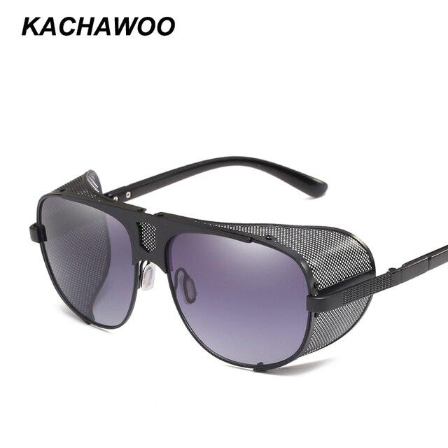8fd1cb32b8f Kachawoo wholesale 6pcs oversize shield sunglasses men 2018 gold metal  retro sun glasses for men big
