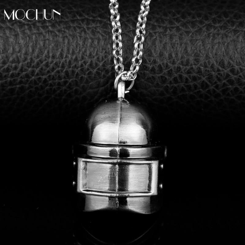 MQCHUN Fashion Jewelry Game PUBG Playerunknowns Battlegrounds Pans Series 3D Helmet Mask Pendant Necklace Men Xmas Cosplay Gift