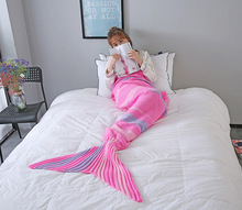 CAMMITEVER Mermaid Throw Blanket Handmade Mermaid Tail Blanket for Adult Kid Multi Soft Crochet Mermaid Blanket hollow out color block crochet knitting mermaid blanket for kid