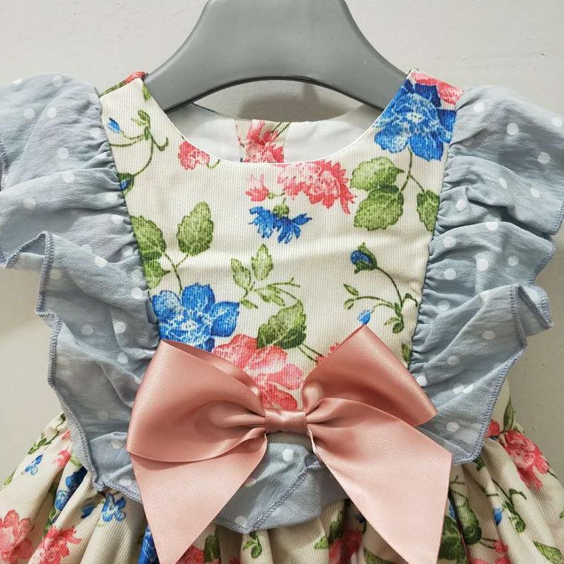 Bébé filles robe de princesse rétro Floral Lolita robe espagnole Boutique Vintage enfants robe fête d'anniversaire vêtements Vestidos Y1136 - 5