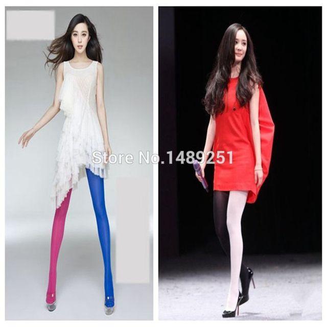 Fashion Asymmetry Contrast Color Velvet Pantyhose Lady
