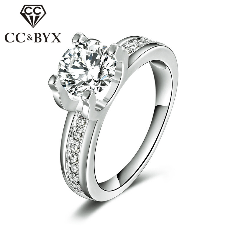 1.5 Carat AAA Cubic Zirconia Wedding Rings For Women White Gold Color Luxury Engagement Bijoux Bague Femme Accessories CC066