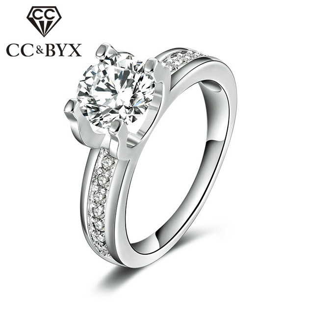1.5 Carat AAA Cubic Zirconia Wedding Rings For Women White Gold Color Luxury Eng