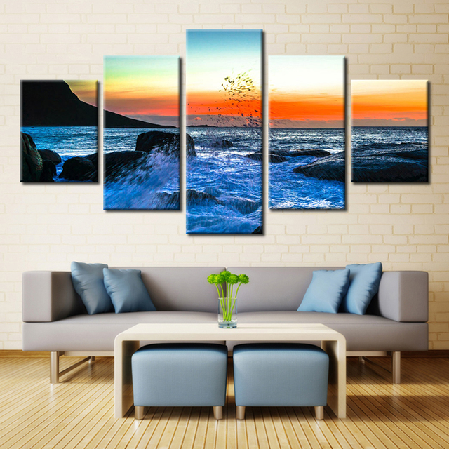 48 Panel Sky Building Manhattan Rentals The Sea Reef Setting Sun HD Beauteous Rental Home Decor Painting