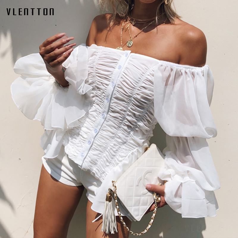 2020 New Sexy Chiffon Blouse Women Slash Neck Flare Sleeve Ruffles Slim White Black Blouse Spring Summer Casual Shirt Tops