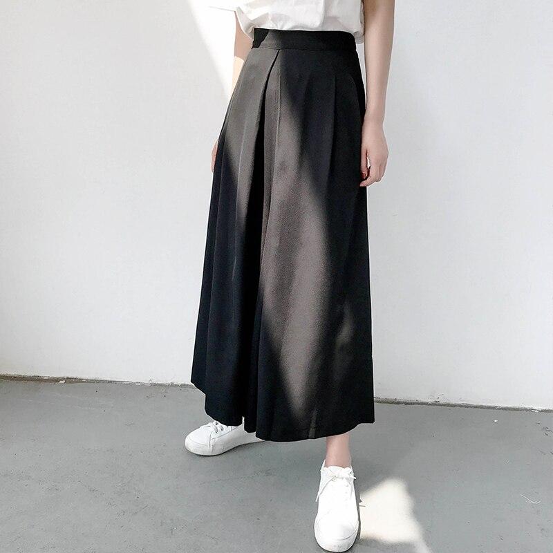 SHENGPALAE New Summer 2018 fashion black back zipper Temperament loose Elastic Waist calf-length Wide Leg Pants women QC874