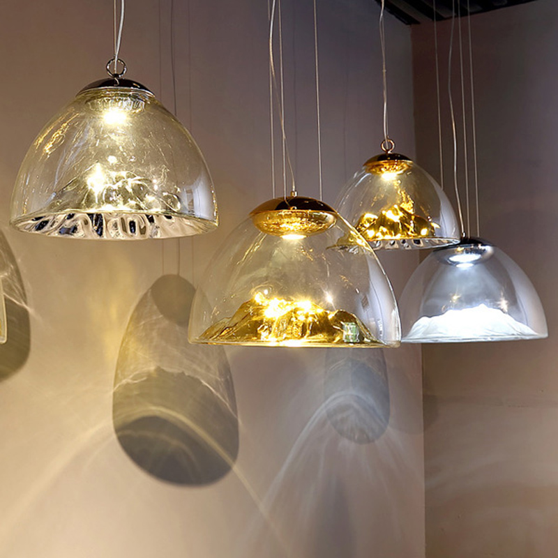Modern simple electroplated golden glass single pendan lamp Nordic creative mountain design LED restaurant decorative lighting