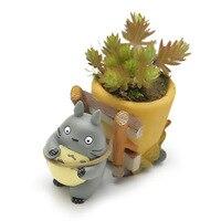 New DIY Totoro Flower Pot Resin Doll Ornaments Creative Planters