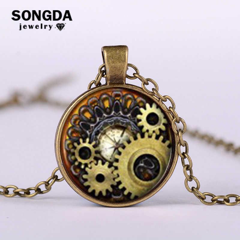 سونغدا خمر والعتاد الميكانيكية صورة فنية جوهرة الزجاج قلادة قلادة Steampunk الجيب الساعات على مدار الساعة شكل سلسلة طويلة قلادة