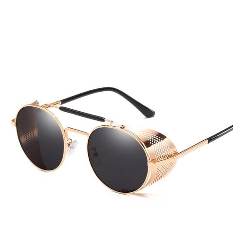 Steampunk Goggles Retro Sunglasses Men Punk Round Sunglasses Women Brand Designer Sun Glasses for Male UV400 Oculos De Sol Lahore
