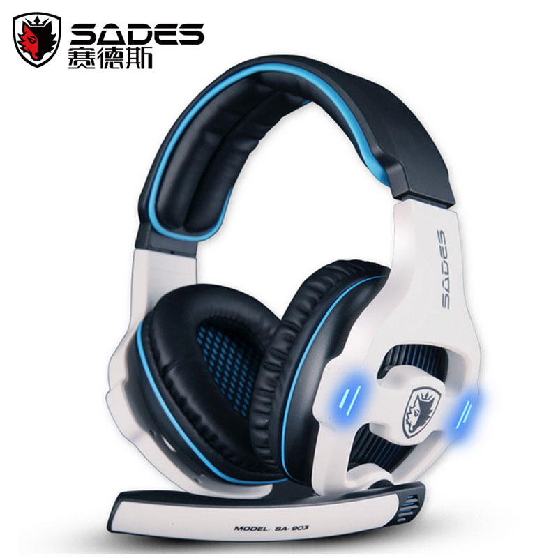 Top Quality SADES SA-903 7.1 Surround  Built in Sound Card Headband Gaming Stereo USB Plug With Microphone Game Earphone dolby surround sound audio processor usb decoding dac pre amp usb sound card